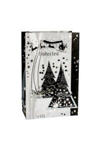 Geschenktüte Frohes Fest mit Bäumen, 12 x 6 x 19 cm