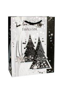 Geschenktasche Frohes Fest mit Bäumen, 18 x 8 x 23 cm
