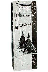 Flaschentasche Frohes Fest mit Bäumen, 12 x 10 x 35 cm