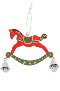 Weihnachtsanhänger Schaukelpferd aus Holz rot