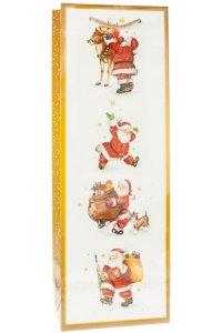 Flaschentasche Fröhliche Weihnachtsmänner, 12 x 10 x 35 cm