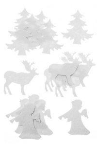 Filz-Sticker Posaunenengel, Tanne und Rentier, 16er Set