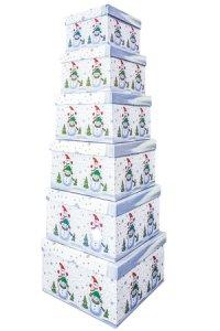 Geschenkbox-Set Schneemänner quadratisch, 6-teilig