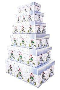 Geschenkbox-Set Schneemänner rechteckig, 6-teilig