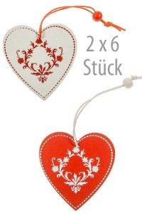 Deko-Anhänger Herz rot/weiß - 12er Pack