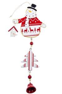 Deko-Anhänger Schneemann aus Holz rot/weiß