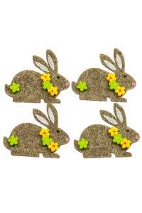 Filz-Sticker Häschen mit Blumen - 4er Pack