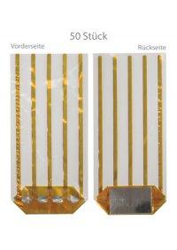 Kreuzbodenbeutel King gold 120 x 275 mm 35 my,   50 Stück