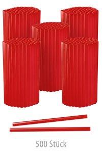 Trinkhalm 14 cm, Ø 7,7 mm, rot, 500 Stück