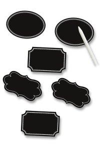 Etiketten Tafelfolien mit Specksteinstift, 6er Set