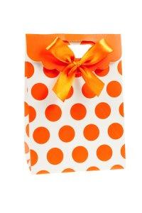 Geschenktasche Punkte orange, 11,5 x 6 x 16 cm