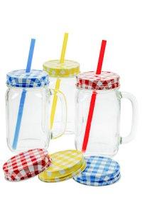 Trinkhalmglas mit Henkel 450 ml, 3er Set mit Extra-Verschlüssen