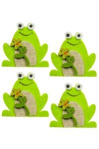 Filz-Sticker Frosch mit Blume - 4er Set