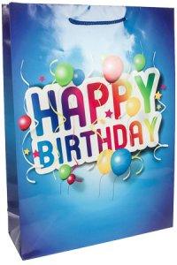 Geschenktasche Happy Birthday blau, 36 x 8,5 x 48 cm