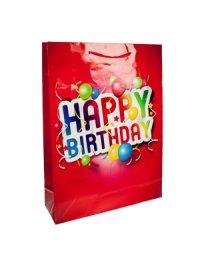 Geschenktasche Happy Birthday rot, 18 x 8 x 23 cm