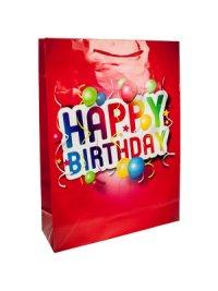 Geschenktasche Happy Birthday rot, 25 x 8,5 x 34 cm