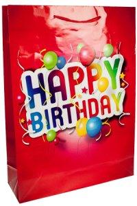 Geschenktasche Happy Birthday rot, 36 x 8,5 x 48 cm
