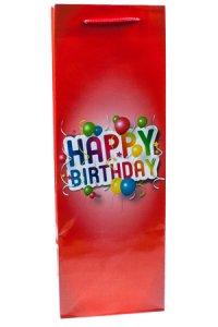 Flaschentasche Happy Birthday rot, 12 x 10 x 35 cm
