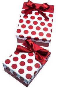Geschenkbox Punkte dunkelrot, 2er Set