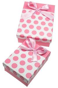 Geschenkbox Punkte rosa, 2er Set