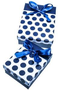 Geschenkbox Punkte dunkelblau, 2er Set