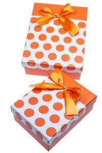 Geschenkbox Punkte orange, 2er Set