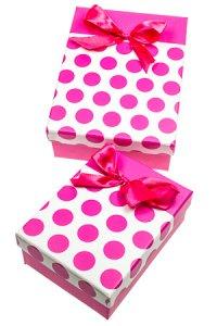 Geschenkbox Punkte fuchsia, 2er Set