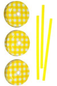 Trinkhalmdeckel SV 70 Weißblech gelb kariert, 3er Set