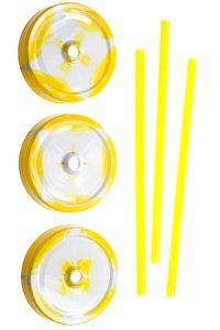 Trinkhalmdeckel SV 70 Kunststoff gelb-weiß, 3er Set