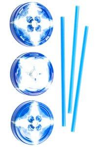 Trinkhalmdeckel SV 70 Kunststoff blau-weiß, 3er Set