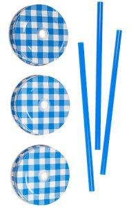 Trinkhalmdeckel SV 70 Weißblech blau kariert, 3er Set