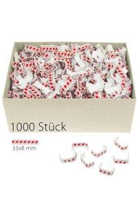 U-Clips 33 x 8 mm rot-weiß, 1000 Stück
