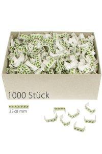 U-Clips 33 x 8 mm grün-weiß, 1000 Stück