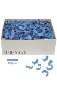 U-Clips 33 x 8 mm blau, 1000 Stück
