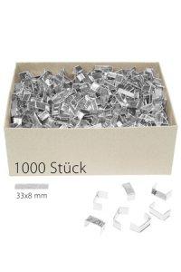 U-Clips 33 x 8 mm silber, 1000 Stück