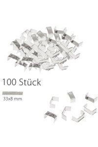 U-Clips 33 x 8 mm silber, 100 Stück