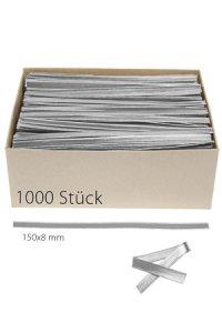 Clipbandverschlüsse 150 x 8 mm silber, 1000 Stück