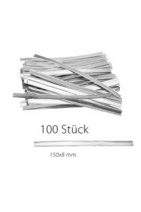 Clipbandverschlüsse 150 x 8 mm silber, 100 Stück