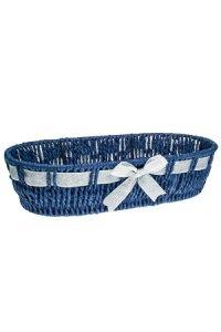 Schale oval blau mit Silberschleife