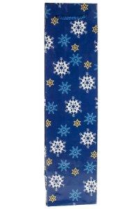 Flaschentasche Schneeflocken blau, 9 x 7 x 36 cm