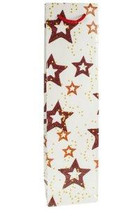Flaschentasche Sterne creme, 9 x 7 x 36 cm