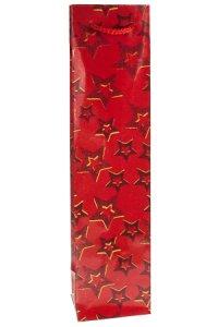 Flaschentasche Sterne rot, 9 x 7 x 36 cm