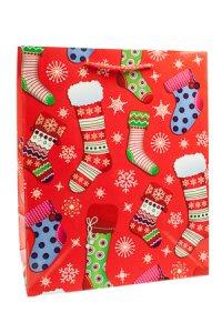 Geschenktasche Weihnachtssocken rot, 18 x 10 x 22,5 cm