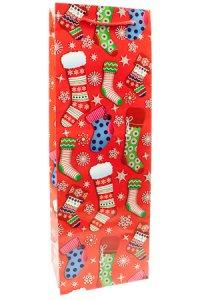 Flaschentasche Weihnachtssocken rot, 12,5 x 8 x 36 cm