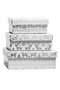 Geschenkbox-Set Winterzeit rechteckig, 3-teilig