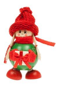 Anhänger Wintermädchen mit rotem Schal und Geschenk