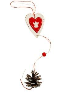 Holz-Anhänger Herz mit Zapfen