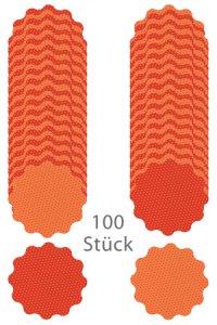 Wende-Deckchen aus Folie Ø 170 mm, Punkte orange, 100er Pack