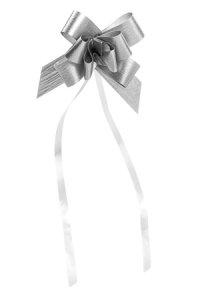 Ziehschleife Paperlook metallic ca. 50 mm, silber, 100 Stück
