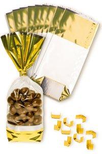 Kreuzbodenbeutel Uni Gold 100 x 220 mm, 10 Stück mit Clips
